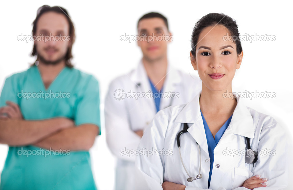 Medical team of Doctors and male nurse, women on front  Stock Photo #2181185