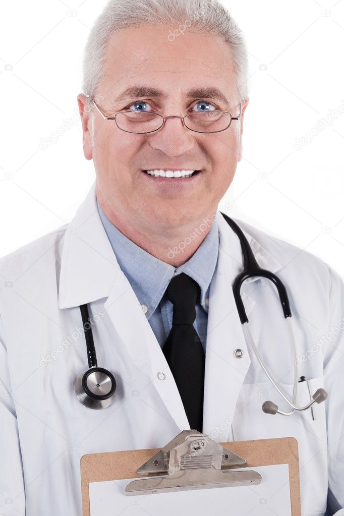 Closeup portrait of senior doctor isolated on white background — Stock Photo #2211843