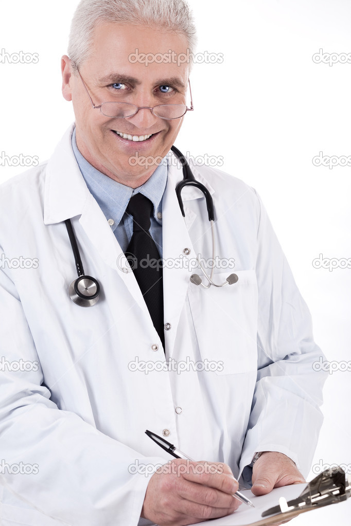 Smiling medical doctor writing prescription on white background — Stock Photo #2212571