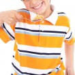 Young boy eating his breakfast — Stock Photo