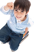 Top view of cute kid with fingers up — Stock Photo