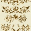 Stock Vector: Floral decorative patterns in stiletto baroque and rococo