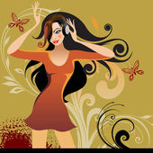 Beautiful girl in earphone — Stock Vector