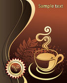 Cup of coffee with abstract background — Stock Vector
