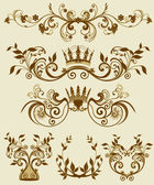 Floral decorative patterns in stiletto baroque and rococo — Stock Vector