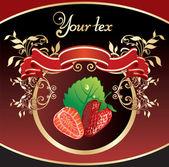 Fondo para el embalaje con fresas — Vector de stock