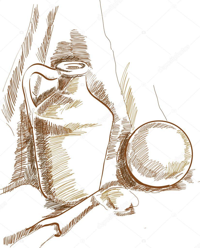 Pinterest Still Life Drawing Still Life Drawing — Vector