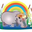 Fairy-tale hippopotamus - Stockvectorbeeld