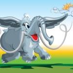 Funny fairy-tale mammoth — Stock Vector