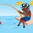 Stock Vector: Bull on fishing