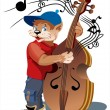 Cat with bass viol — Stock Vector