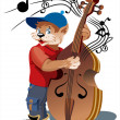 Cat with bass viol - Stock Vector