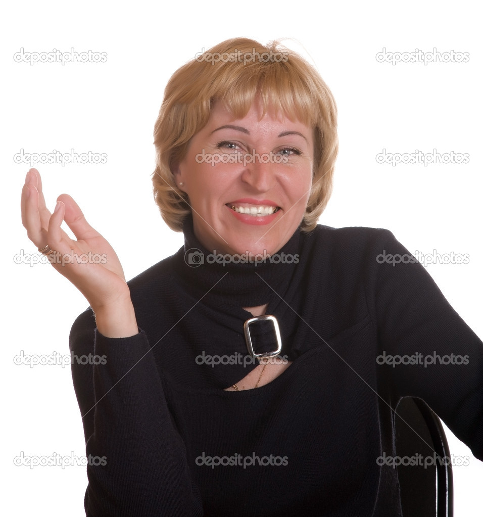 The mature woman expresses pleasure on a white background — Stock Photo #1185053