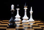 White figures checkmate to king — Stock Photo