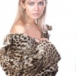 The girl in  fur coat - Foto Stock