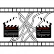 Cinemas clapper with film frame - Stock Vector