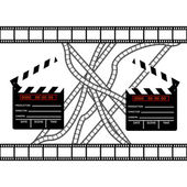 Cinemas clapper with film frame — Stock Vector