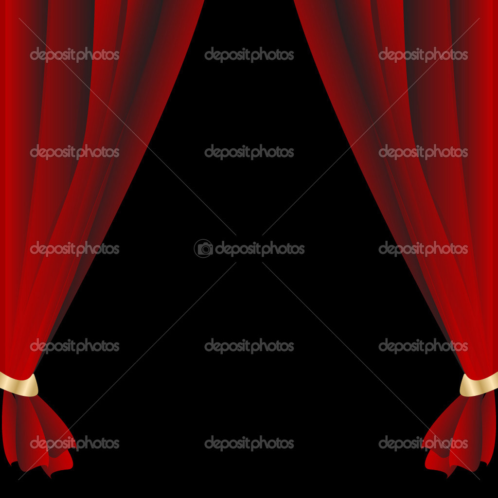 Red theatrical curtain on the black background — Stock Vector #1091807