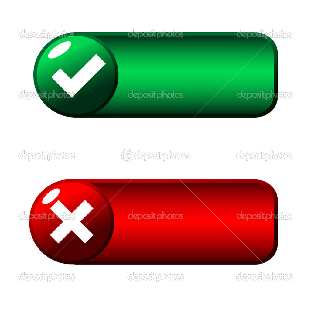 Green and red web buttons  Stock Vector #1092022