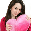 Woman with a big red heart — Stock Photo #1098294