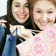 Stock Photo: Two woman with shopping bag