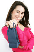 Woman with shopping, gift bag — Stock Photo
