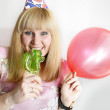 Woman with lollipop — Stock Photo #1121809