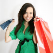Woman happy with gifts — Stock Photo