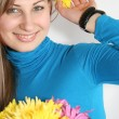 Woman with bunch of flowers — Foto de Stock