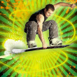 Athlete snowboarder — Stock Photo