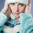 Girl dressed as Russian Santa Claus — Stock Photo
