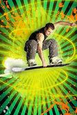 Athlete snowboarder — Stock Photo