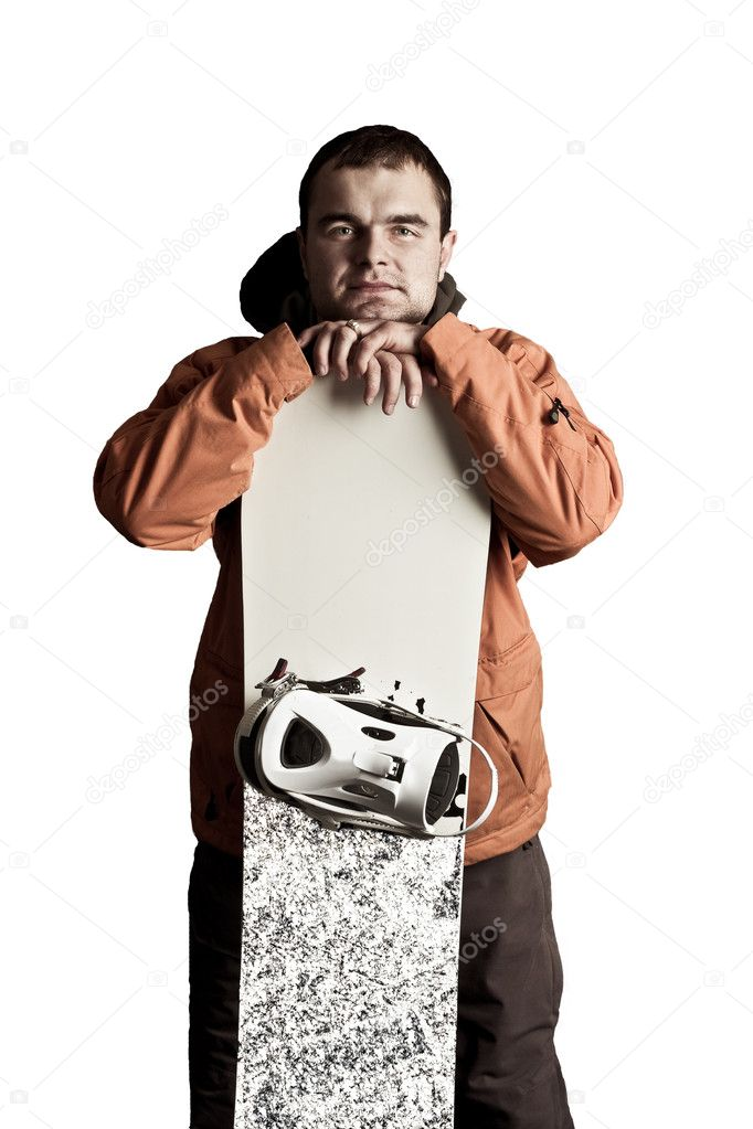The guy with snowboard in the hands — Stock Photo #1577103