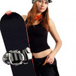 Women snowboarder in the goggles — Stock Photo