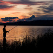 Fisherman at sunset — Stock Photo #1846391