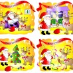 Set of 4 fanny Christmas cards — Stock Photo