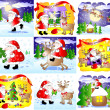 Stock Photo: Set of 9 fanny Christmas cards