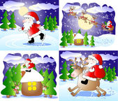Set of 4 fanny Christmas cards — Stock Photo