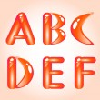 Vector de stock : Red shiny alphabet. Part 1