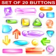 Set of 20 vector buttons — Stock Vector