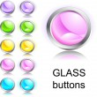 Stock Vector: Set of glass buttons