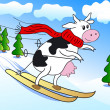 Cow on ski — Vector de stock