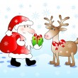 Santa gives a gift to his deer - Stock Vector