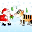 Santa congratulates cute tiger — Stock Vector