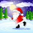 Santa on skates — Stock Vector