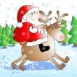 Santa riding deer — Stock Vector