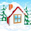 Stock Vector: Small winter house