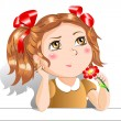 Stock Vector: Little girl with red flowers