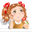 Little girl with red flowers — Stock Vector