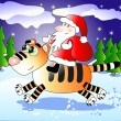 Santa Claus and tiger — Stock Vector